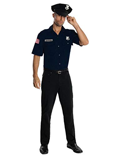 Police Uniform Shirt And Hat Costume, Blue, Standard
