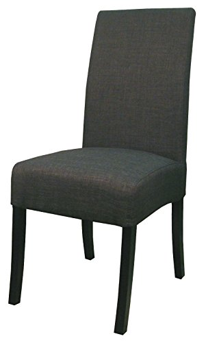 New Pacific Direct Valencia Fabric Chair,Black Legs,Charcoal Black,Set of 2
