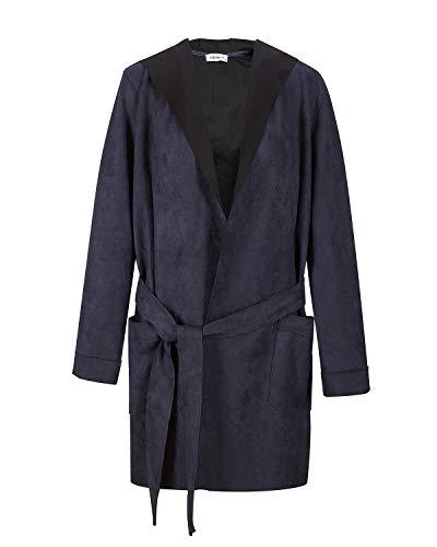 NOBLEMOON Women's Hooded Outwear Cardigan Long Sleeve Medium Length Trench Coat Suede (Medium, Navy)