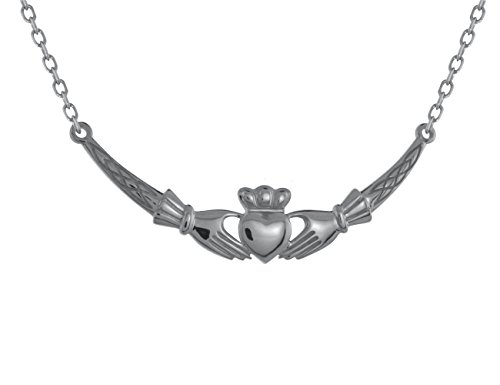 (Biddy Murphy Claddagh Necklace Sterling Silver Bar Design Made in Ireland)