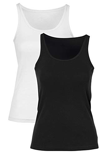 (Ellos Women's Plus Size 2-Pack Ribbed Knit Tank Top - Black White, 22/24)