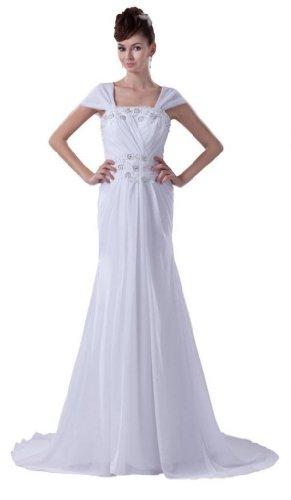 Dearta Aermel Reissverschluss Ab Damen Schleppe Fliegender Hof der Kleidungen Brautkleider Schulter Etui Linie Weiß Chiffon 878Irfxwq