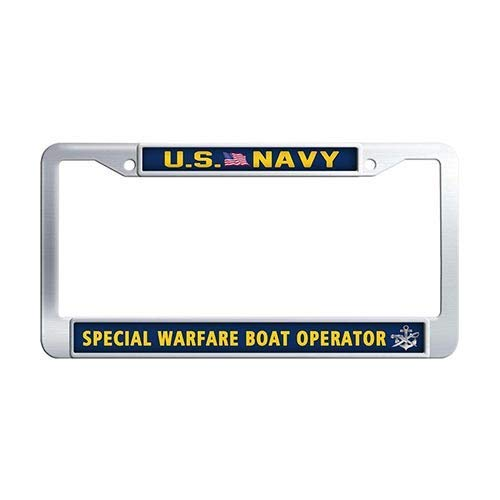US Navy Special Warfare Boat Operator License Plate Frame, DIY Licenses Plate Covers for Both Front and Back, License Tag Stainless Steel Metal License Plate Holder