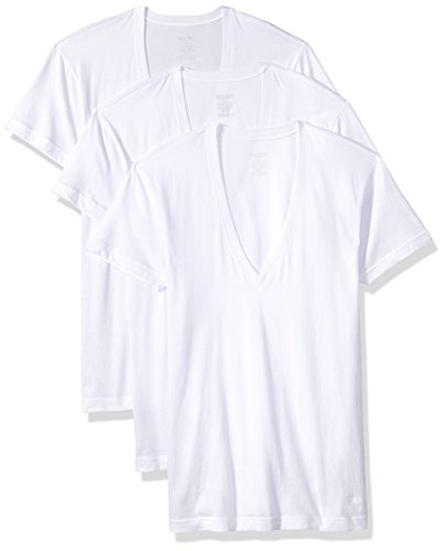 ial Slim Fit Deep V Neck T-Shirts-3 Pack (020351), White Natural, Large (Essential V-neck T-shirt)