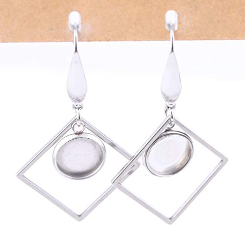 Reidgaller 20pcs Stainless Steel 10mm Round Blank Cabochon Earring Base Settings with Square Frame Charms DIY Accessories for Earrings jewerly Making