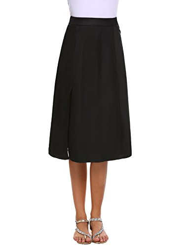 Chigant Women's Fashion Skirt Formal Satin A-Line Long Skirt High Waist,Black,X-Large - Skirt Flare Satin