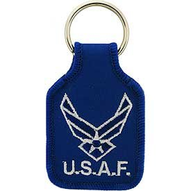 US Air Force New Logo Embroidered Keychain Military Commemorative Collectibles, Patriotic Gifts for Men, Women, Teens, Veterans Great Gift Idea for Wife, Husband, Relative, Boyfriend, Girlfriend, Grandparent, Fiance or Friend. Perfect Christmas Stocking Stuffer or Veterans Day Gift Idea. Design: For Women or Men!
