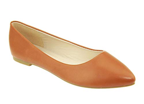 (Bella Marie Angie-53 Women's Classic Pointy Toe Ballet Slip On Flats Shoes (7, tanpu-52) )