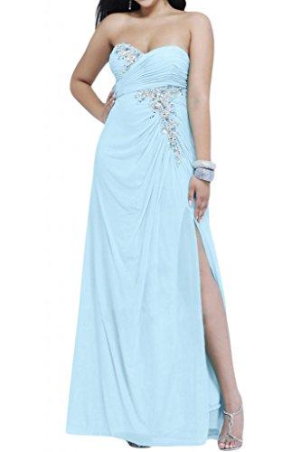 Ranura en forma de corazón de la Toscana de novia vestidos de Gasa de noche elegante vestido a largo bola de vestidos de fiesta Hell Himmel Blau