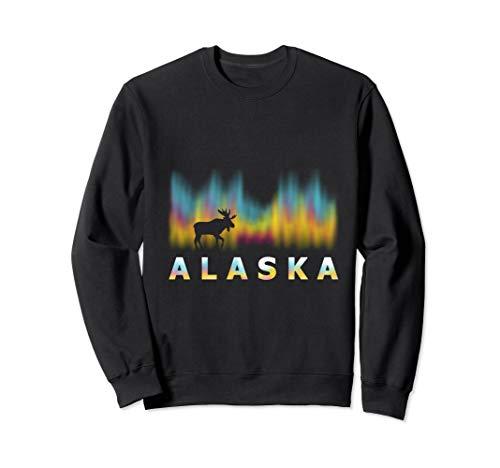 Alaska Reindeer Sweatshirt Tee with Polar Lights and Moose