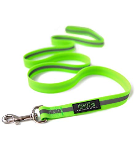 Mighty Paw Waterproof Dog Leash, Smell-Proof Active Dog Gear, Coated Nylon Webbing with Reflective Stripe. (Green, Standard)
