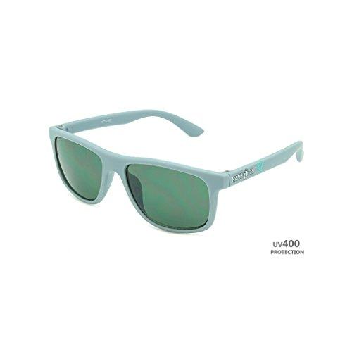 Hangten Kids UV400 Sunglasses, Gray with White Logo & Green - Sunglasses Logo Design