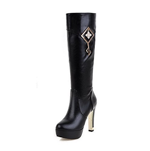 AllhqFashion Womens Zipper Soft Material High-Heels Round Closed Toe Boots with Crystals Black LYSYMr