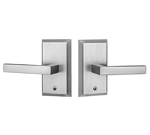 Rockwell Premium Aqua Solid Brass Passage Set with Delta Lever in Brushed Nickel Fits 2-3/8 inch Backset 1-3/8 inch to 1-3/4 inch Thick Doors, Includes, Latch, Strike Plate and mounting Fasteners ()