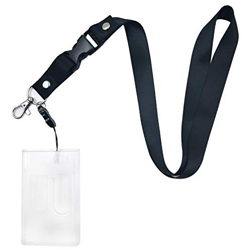 Office Neck Layards with ID Badge Holder, Heavy Duty Clear Vertical ID Card Holders with Breakaway Quick Release Safty Lanyard for Key Chain, Company Employee School Student ID Card 2-Card -