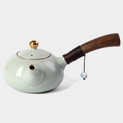 New Design Japanese Style Teapots Ceramic Wood Handle Kung Fu Tea Sets Chinese Porcelain Ceramic Kettle Vintage Tea Service (White)