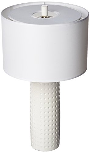 - Lite Source LS-21979WHT Table Lamp with White Fabric Shades, 24.5