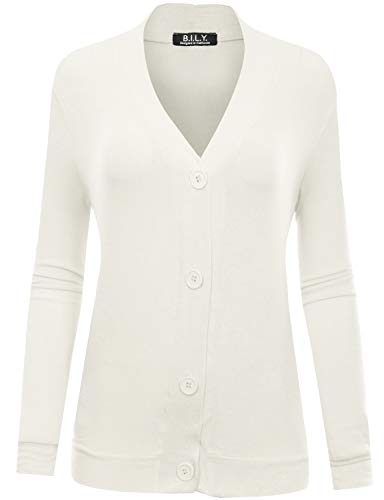 BH B.I.L.Y USA Women's Button Sweater Cardigan with Pockets Ivory Small