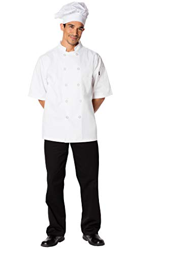 Dickies Chef Men's Short Sleeve Button Coat, White, Small from Dickies Chef