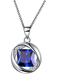 Birthstone Pendant Women Birthday Necklace Crystal Birth...