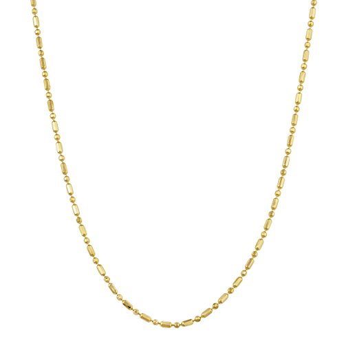 14k Yellow Gold 1mm Diamond-Cut Alternate Bead And Bar Link Chain (18 (Yellow Gold Bar Link Chain)