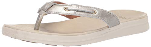 SPERRY Women's Adriatic Thong Skip Lace Leather Sandal, Platinum, 11