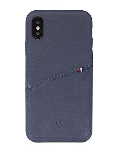 (DECODED Premium Full-Grain Leather Back Cover for iPhone X (Indigo Blue))
