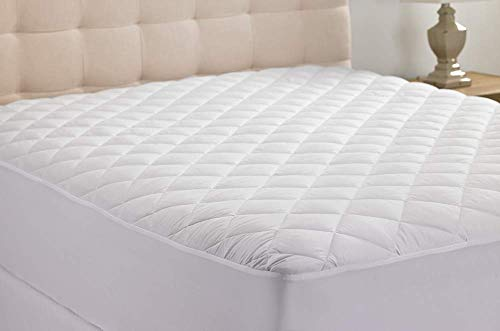 Hypoallergenic Quilted Stretch-to-Fit Mattress Pad by Hanna Kay, 10 Year Warranty-Clyne Collection (Queen)