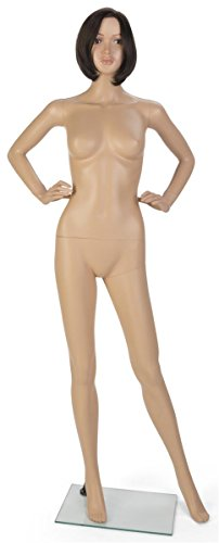 Price comparison product image Displays2go, Full Body Female Brunette Mannequin, Polypropyelen Build – Light Skin Ton, Brown Wig (PFRM1SDBW)