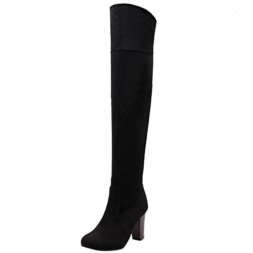 Black Boots Chunky Heel High COOLCEPT Western High Thigh Women Knee 402 Over Pwq4q67C