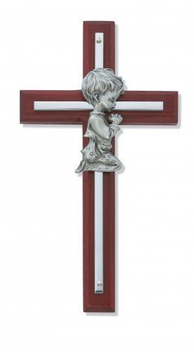 (Silver Boy Wall Cross Cherry Stained Wood 6 in Nursery Decor Baby)