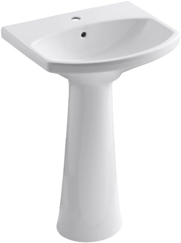 - KOHLER K-2362-1-0 Cimarron Pedestal Bathroom Sink with Single-Hole Faucet Drilling, White