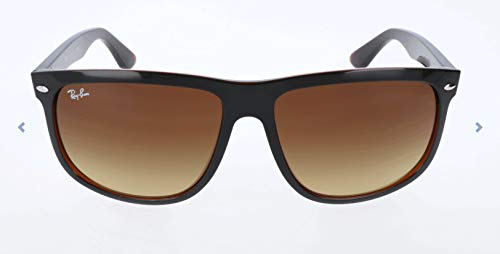 Ray-Ban RB4147 Boyfriend Square Sunglasses, Black On Brown/Brown Gradient, 60 ()