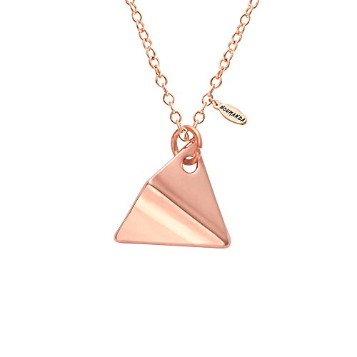 NOUMANDA Paper Airplane Pendant Necklace Unique Charm Origami Jewelry for Women (rose gold) Gold Paper Jewelry