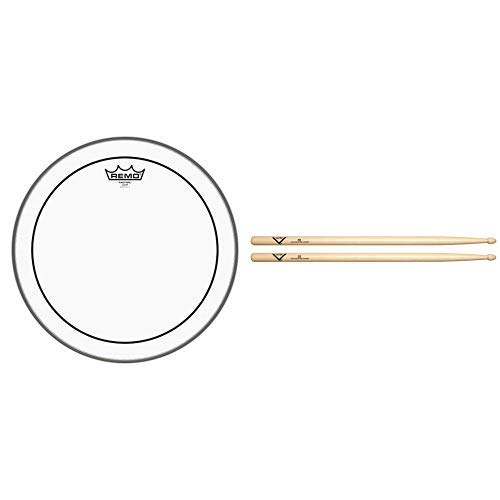 Remo Pinstripe Clear Drumhead, 14'' with Vater 5B Wood Tip Hickory Drum Sticks, Pair by Remo