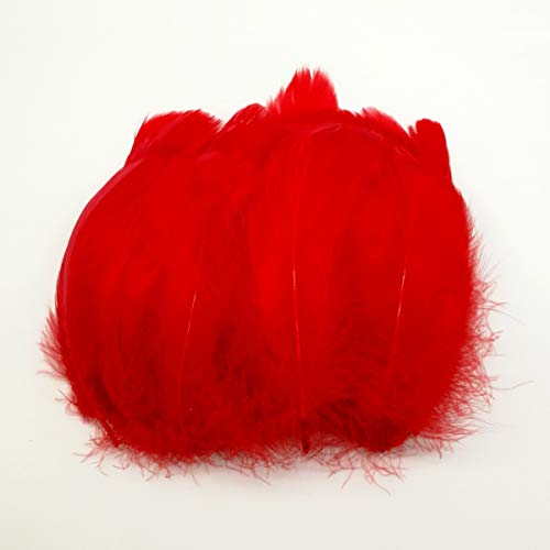 100pcs Goose Feathers Colorful Dyed Natural Feathers for Crafts DIY Wedding Party Decorations Accessories 1.96-3.14inch/5-8cm(Red)