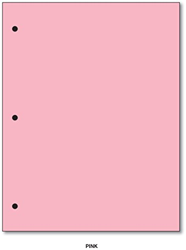 3 Hole - Color Paper 8 1/2 X 11 - 100 Papers Per Pack (Pink) by S Superfine Printing