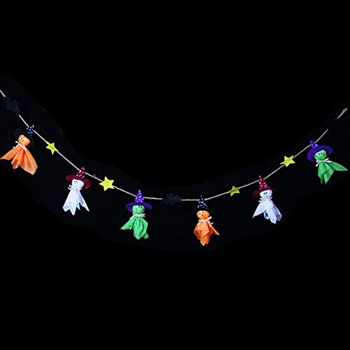 lightclub Cute Happy Halloween Hanging Ornament Witch Pumpkin Bell Banner Party Decoration Witch