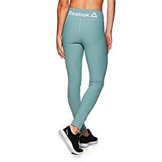 Reebok Women's Leggings Full Length Performance Compression Pants - Athletic Workout Leggings for Women for Gym & Sports - Chinois Green Tree, Large