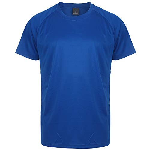 (Summer Sports T Shirts for Men Short Sleeve Gym Running Crew Neck Casual Youth Tee Workout T-Shirt Top (Royal Blue 06, M) )