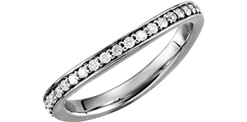 (Platinum Stackable Diamond Curved Eternity Band, Size 7.5)