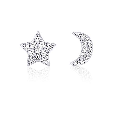 Moon and Star Earrings Silver for Women Girls Hypoallergenic for Sensitive Ears, Tiny Diamond Earrings Studs Nickel Free Stainless Steel Jewelry Gift