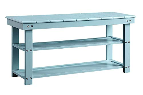 Convenience Concepts Oxford Utility Mudroom Bench, Sea Foam - Part of the Oxford Collection by Convenience Concepts Displays a contemporary style to uplift any home decor Constructed from MDF/solid wood/non-lead based paint - entryway-furniture-decor, entryway-laundry-room, benches - 31qBn8OMyZL -