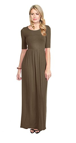 Simlu Womens Cheap Maxi Dresses with Sleeves - Army Green, Medium