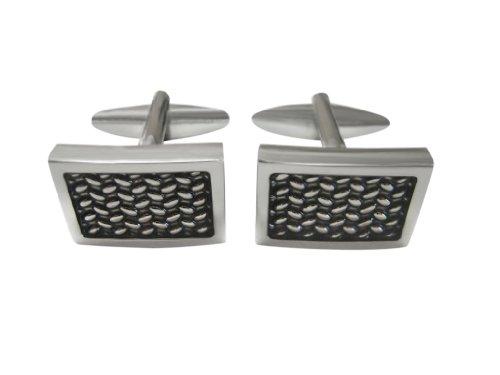Rectangular Metal Mesh Design Cufflinks
