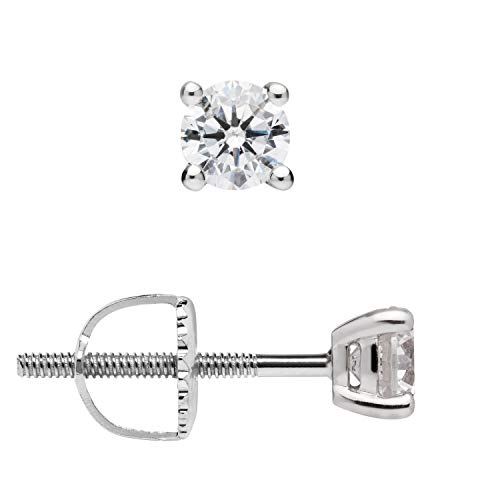 14K Solid White Gold Stud Earrings | Round Cut Cubic Zirconia | Screw Back Posts | 0.5 CTW | With Gift Box
