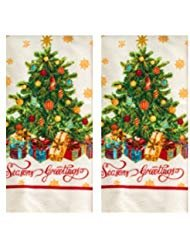 Christmas Dish/Guest Towel Set of 2 Glittered Tree Great gift!