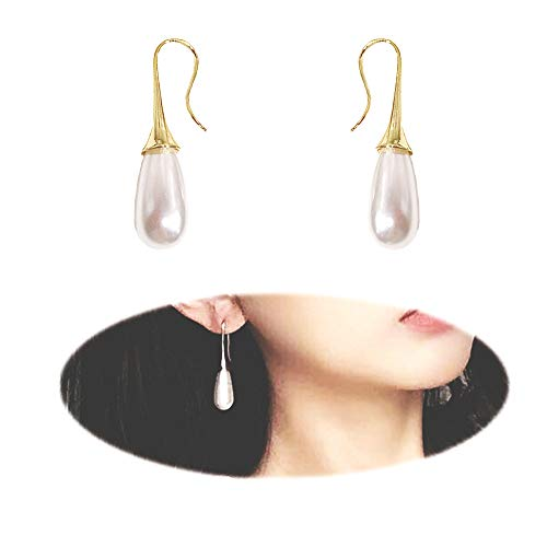 Teardrop faux Pearl Earrings Women Elegent Long Drop Stud Wedding Prom Vintage Champagne Long