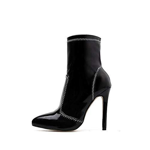 Verniciata Stivali Tacco Black In Size Alto A Black 40 Vernice Punta E color Con Gsaydnee Pelle fBwvAA