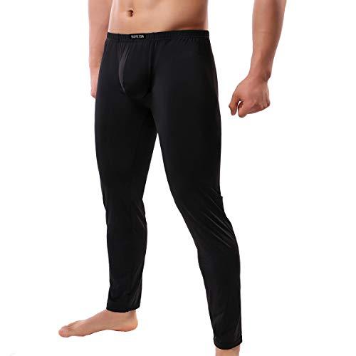 (YUFEIDA Men's Sexy Underwear Bottoms Low Rise Leggings Pants Mesh Long Trousers (XXL, Thicker Black))